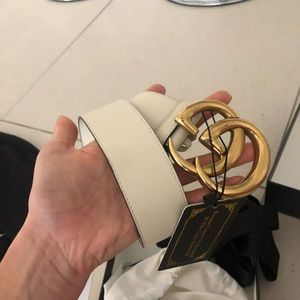 Creme and Gold REAL Gucci belt with tags and box